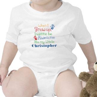 Crezca impresionante como mi tío personalizado trajes de bebé