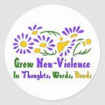 Crezca la No-Violencia Pegatina Redonda