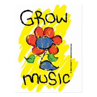 Crezca una cierta música Refresque el diseño flor Tarjetas Postales