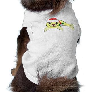 Cría de foca amarilla con el gorra de Santa y Bell Playera Sin Mangas Para Perro