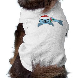 Cría de foca azul clara con el gorra de Santa y Playera Sin Mangas Para Perro