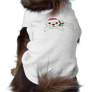 Cría de foca blanca con el gorra de Santa y Bell Playera Sin Mangas Para Perro