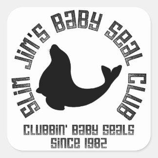 Cría de foca Clubber Pegatina Cuadrada