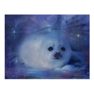 Cría de foca en el hielo - paisaje marino hermoso tarjeta postal