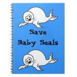 Cría de foca libros de apuntes con espiral
