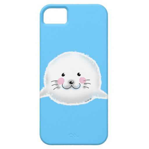 Cría de foca mullida linda iPhone 5 protector
