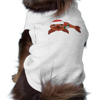 Cría de foca roja con el gorra de Santa y Bell de Playera Sin Mangas Para Perro