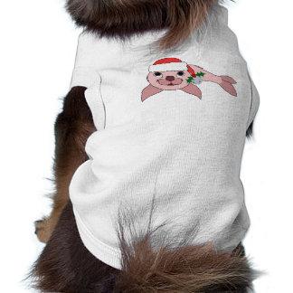 Cría de foca rosa clara con el gorra de Santa y Playera Sin Mangas Para Perro