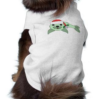 Cría de foca verde clara con el gorra de Santa y Playera Sin Mangas Para Perro