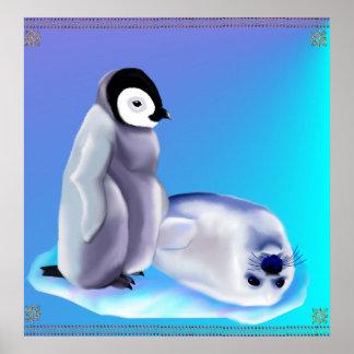 Cría de foca y bebé Penquin Póster