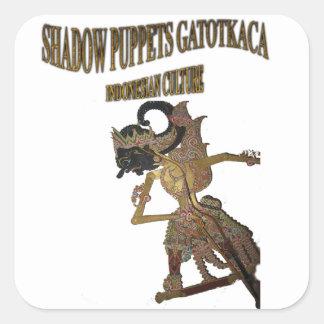 Cría del indonesio de Gatot Kaca de las marionetas Pegatina Cuadrada