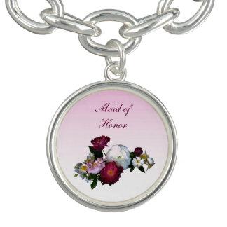 Criada antigua de los rosas del boda del honor pulsera con dije