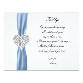 Criada azul del boda del corazón del diamante de anuncio personalizado