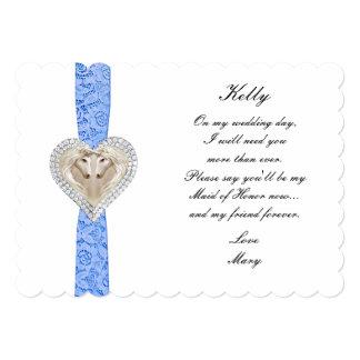 """Criada azul del boda del cordón del unicornio de invitación 5"""" x 7"""""""