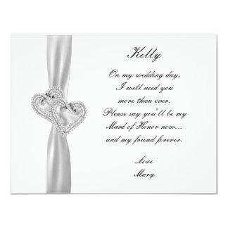 Criada blanca del boda de los corazones del invitación 10,8 x 13,9 cm