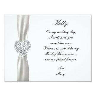 Criada blanca del boda del corazón del diamante de anuncios