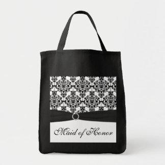 Criada blanco y negro del damasco de la bolsa de a