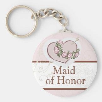 Criada cariñosa del corazón del botón del boda del llavero redondo tipo pin