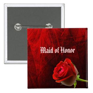 Criada color de rosa gótica del botón del honor pin cuadrado