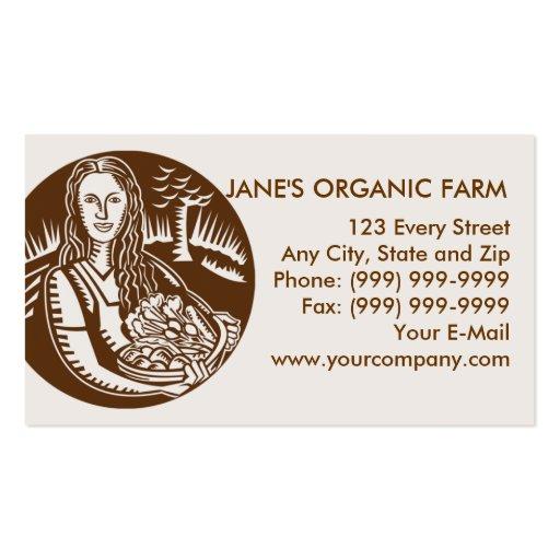 criada con la cesta de cosecha de la cosecha tarjetas de visita