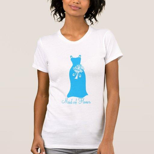 Criada de azul de océano del honor camisetas