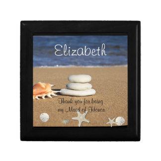 Criada de la caja de regalo del honor, playa, joyero cuadrado pequeño
