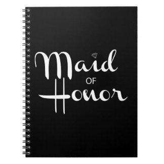 Criada de la escritura retra del honor cuaderno