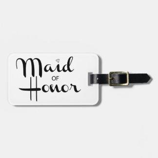 Criada de la escritura retra del honor etiqueta para maleta