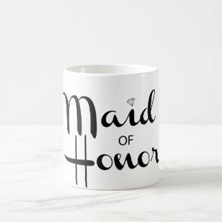 Criada de la escritura retra del honor taza de café