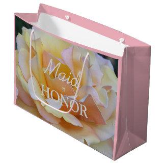 Criada de la foto floral color de rosa en colores bolsa de regalo grande