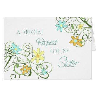 Criada de la hermana de la flor del jardín de la t tarjeta de felicitación
