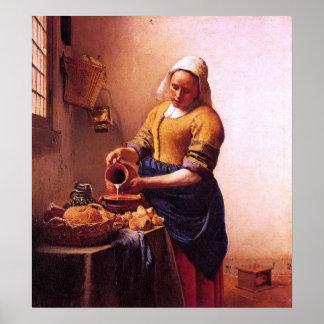 Criada de la leche de Juan Vermeer Póster