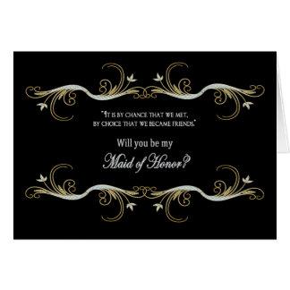 Criada de la petición del honor - mejor amigo tarjeta de felicitación