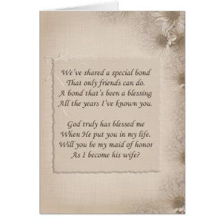Criada de la petición del honor tarjeta de felicitación