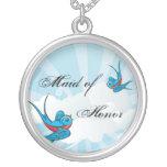 Criada de los pájaros del trago del tatuaje del co collares personalizados
