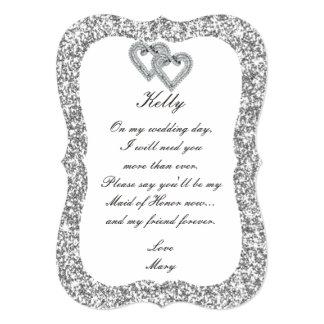 Criada de plata de los corazones del diamante del invitación 12,7 x 17,8 cm