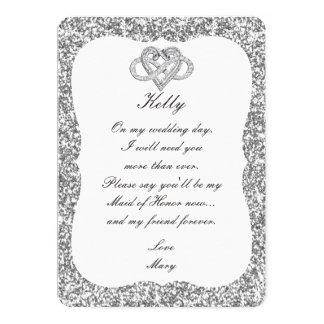 Criada de plata del corazón del infinito del invitación 12,7 x 17,8 cm