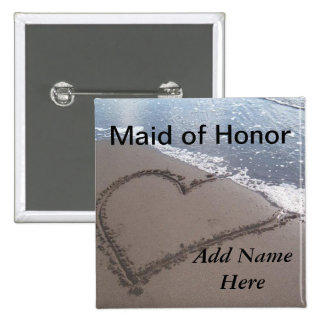 Criada del botón del boda de playa del honor pin cuadrado
