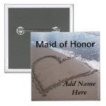 Criada del botón del boda de playa del honor pins