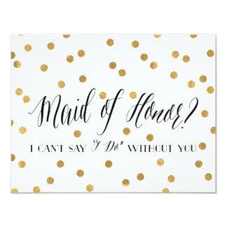"""Criada del confeti de la dama de honor del honor invitación 4.25"""" x 5.5"""""""