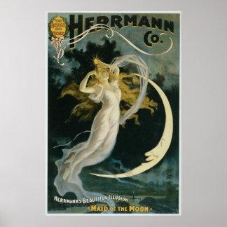 Criada del ~ de Herrmann del acto del mago del vin Impresiones
