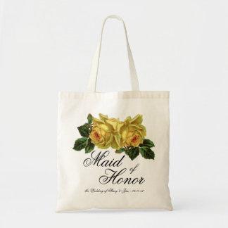 Criada del favor floral del boda del tote del hono bolsa tela barata