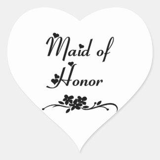Criada del honor clásica pegatina en forma de corazón