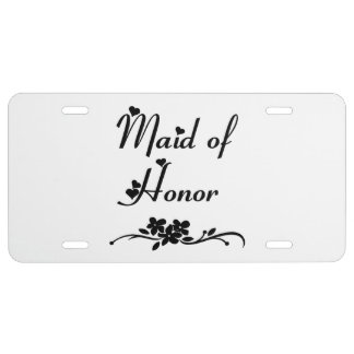 Criada del honor clásica placa de matrícula