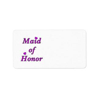 Criada del honor del amor simplemente etiqueta de dirección