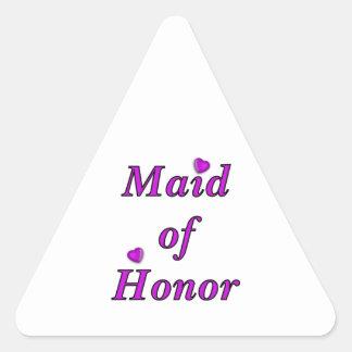 Criada del honor del amor simplemente pegatina triangular