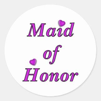 Criada del honor del amor simplemente pegatinas