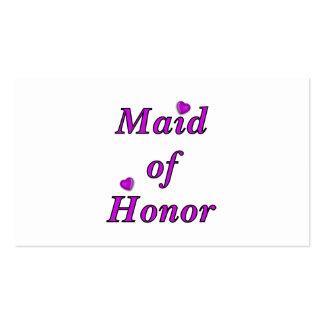 Criada del honor del amor simplemente plantillas de tarjeta de negocio