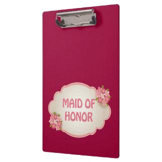Criada del honor florales rosados