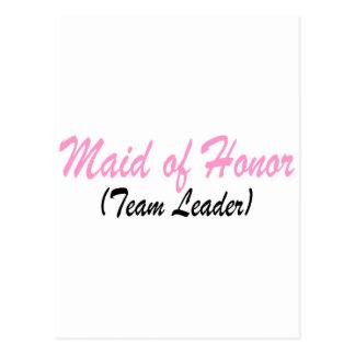 Criada del honor (líder de equipo) tarjeta postal